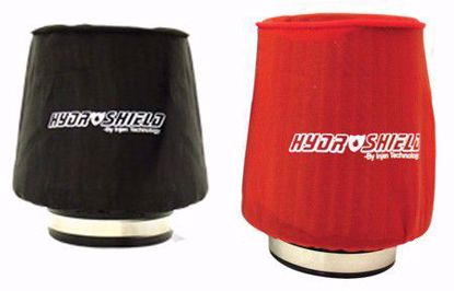 "Picture of Injen Hydroshield Pre-Filter Water Repellant Cover UNIVERSAL 6 1/2""BASE X 8""Tall X 5 1/2""TOP RED/BLACK"
